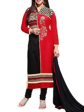 Red Embroidered Cotton Semi Stitched Suit Set - By