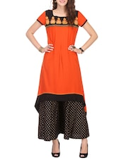 Orange Rayon Straight Kurta - By