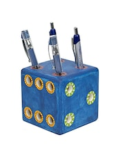Blue Wooden Pen Stand - By