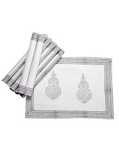 Jodhaa Table Mats Set Of 8 In White/Grey 21TBMA058 - By