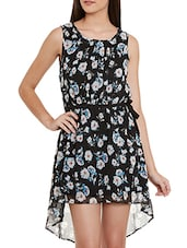 black floral printed chiffon dress -  online shopping for Dresses