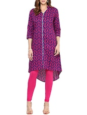 Purple Cotton Highlow Kurta - By