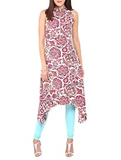 multi colored poly crepe floral printed asymmetric kurta -  online shopping for kurtas