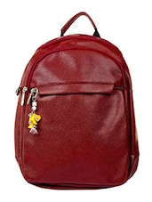 Maroon leatherette backpack -  online shopping for backpacks