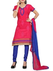Pink Embroidered  Cotton Unstitched Suit Piece -  online shopping for Unstitched Suits