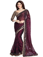 brown georgette saree -  online shopping for Sarees
