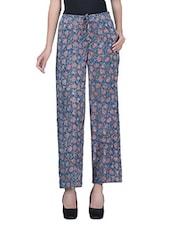 Dark Blue Floral Print Cotton Pants - By