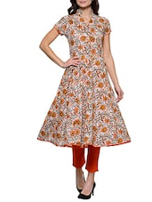 Multicolor cotton printed anarkali -  online shopping for kurtas