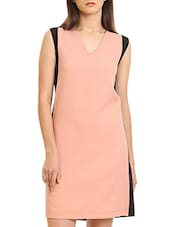 black and peach colour block polyester shift dress -  online shopping for Dresses