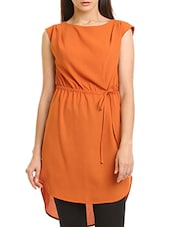orange polyester assymmetric tunic -  online shopping for Tunics