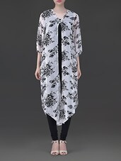 White Floral Print Long Shrug - By