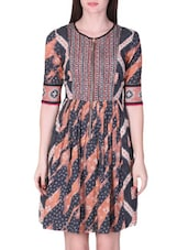 Printed Peach And Grey Cotton Dress - By