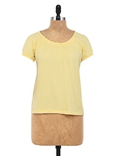 Yellow Cotton Spandex Printed Top - By