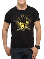 black cotton printed t-shirt -  online shopping for T-Shirts