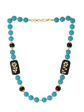 Blue Beaded Brass Long Necklace - By