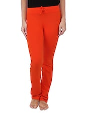 Solid Red Cotton Spandex Track Pants - By