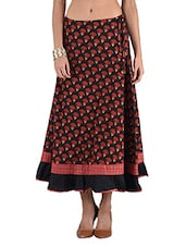 Black Printed Cotton Long Skirt - By