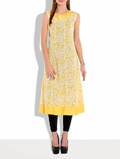 Yellow Printed Sleeveless Cotton Kurta - By