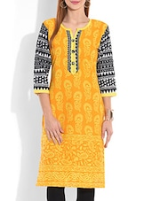 Orange And Yellow Printed Quarter Sleeved Cotton Kurta - By