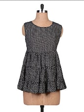 Black Polka-dotted Sleeveless Georgette Top - By