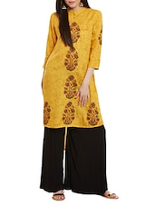 Yellow Rayon Highlow Kurta - By