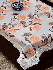 Azalea Eva 6 Seater Floral Printed Table Cover , White , Pack Of 1 - By