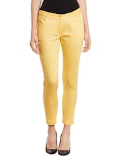 yellow cotton chinos -  online shopping for Trousers