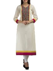 Beige Cotton Straight Kurta - By