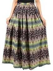 multi colored rayon pleated maxi skirt -  online shopping for Skirts
