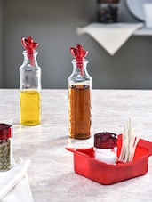 Set Of 5 Maroon Oil-Vinegar With Salt And Pepper Shaker - By
