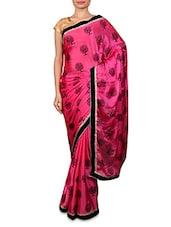 Pink And Black Chiffon Printed Sari - By