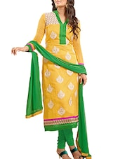Yellow And Green Chanderi Cotton Unstitched Suit Set - By