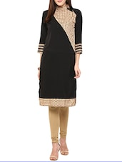 Beige Poly Crepe Long  Kurta - By