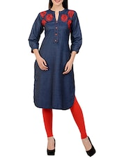 blue cotton straight kurti -  online shopping for kurtis