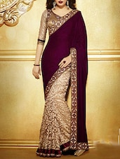 Purple & Beige Georgette half and half Saree -  online shopping for Sarees