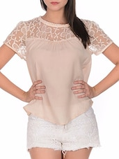 beige embroidered polyester regular top -  online shopping for Tops
