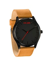 Asgard TAN Leather Black Dial Watch For Men-TN-89 -  online shopping for Analog Watches