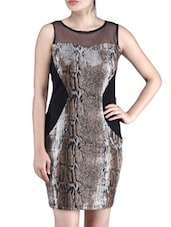 Brown Viscose Net Sequined Dress
