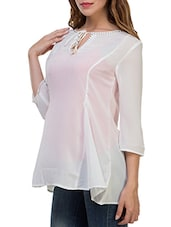 white georgette regular tunic -  online shopping for Tunics