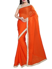 orange georgette none saree -  online shopping for Sarees
