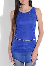 Blue Sleeveless Net Top - By
