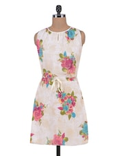 Offwhite Georgette Floral Print Dress - By
