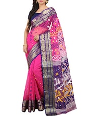 Pink Silk Blend Woven Saree -  online shopping for Sarees