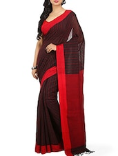 Maroon Cotton Handloom Saree -  online shopping for Sarees