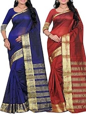multi silk woven saree set of 2 -  online shopping for Sarees