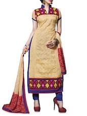 Beige Embroidered Chanderi Cotton Unstitched Salwar Suit Piece - By