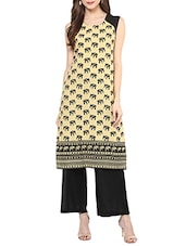 Beige Cotton Printed Kurta - By