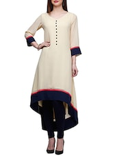 Beige Rayon Highlow Kurta - By