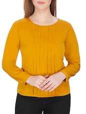 solid mustard crepe regular top -  online shopping for Tops