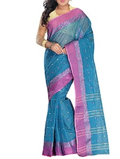 Blue Cotton tant Saree -  online shopping for Sarees
